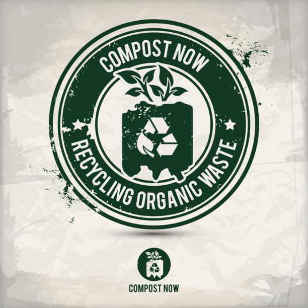 illustrazioni stock, clip art, cartoni animati e icone di tendenza di alternative composting stamp - cbd