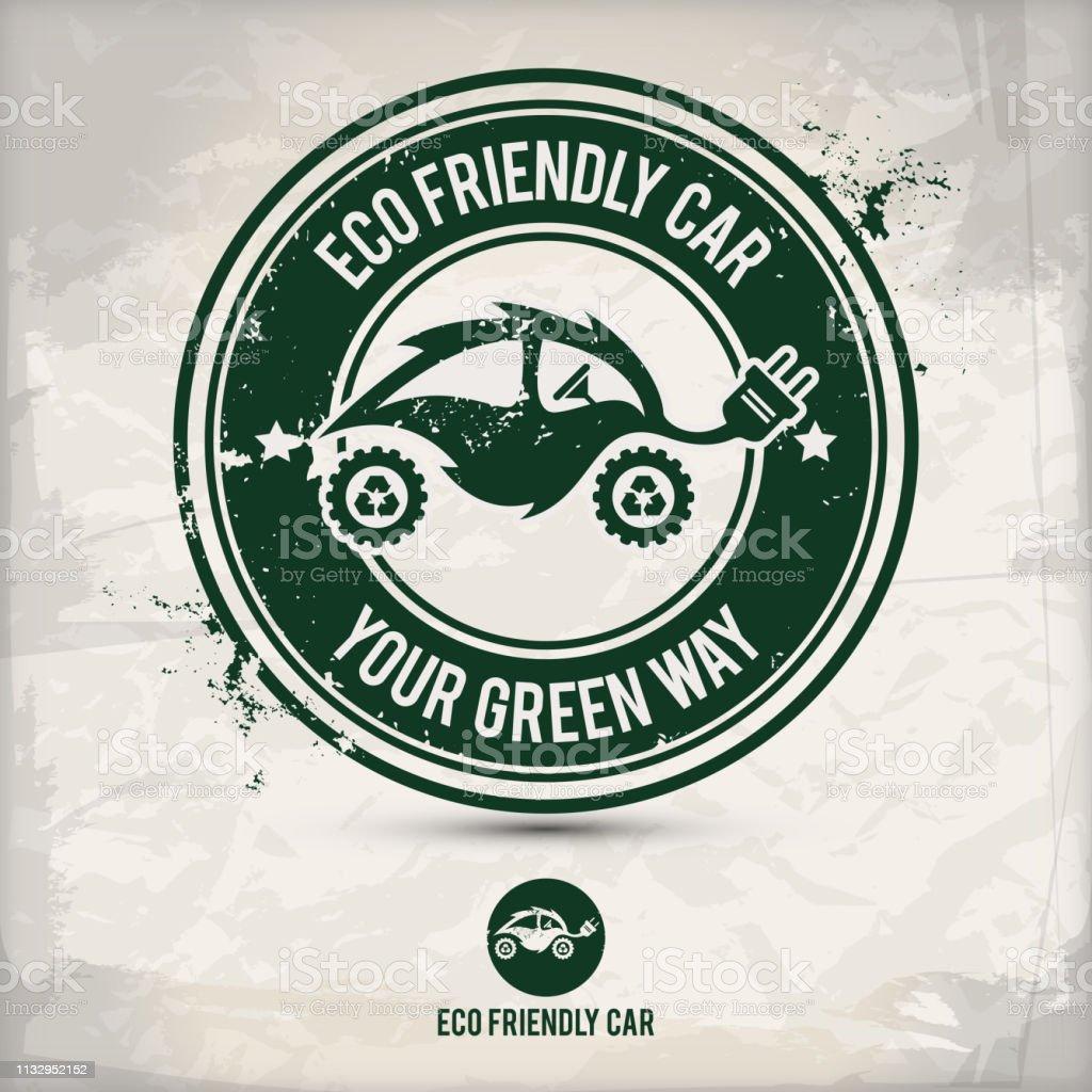 alternative eco friendly car stamp vector art illustration