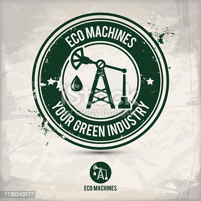 alternative eco machine stamp containing: two environmentally sound eco motifs in circle frames, grunge ink rubber stamp effect, textured paper background, eps10 vector illustration