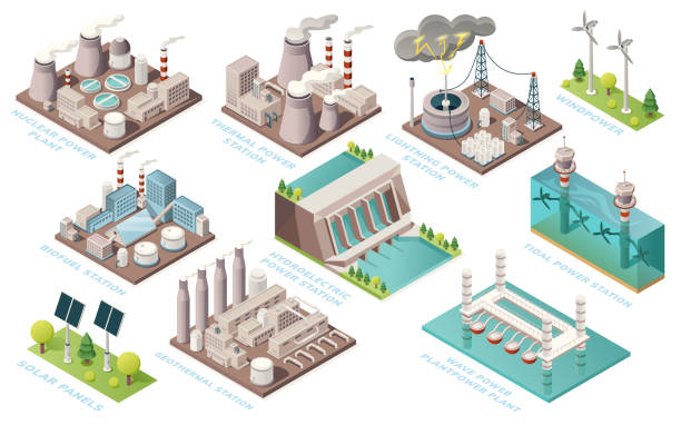 Alternative energy and power plants and green electric energy generation stations, vector isometric icons. Solar panels, bio fuel, thermal or geothermal, nuclear, tidal and water wave power stations Alternative energy and power plants and green electric energy generation stations, vector isometric icons. Solar panels, bio fuel, thermal or geothermal, nuclear, tidal and water wave power stations origins stock illustrations
