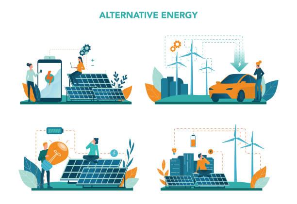 ilustrações de stock, clip art, desenhos animados e ícones de alternative energy concept set. idea of ecology frinedly power - solar panel
