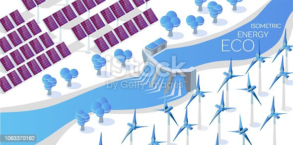 Alternative energy concept vector flat illustration. solar panel, wind turbines and hydroelectric power station. Isometric 3d