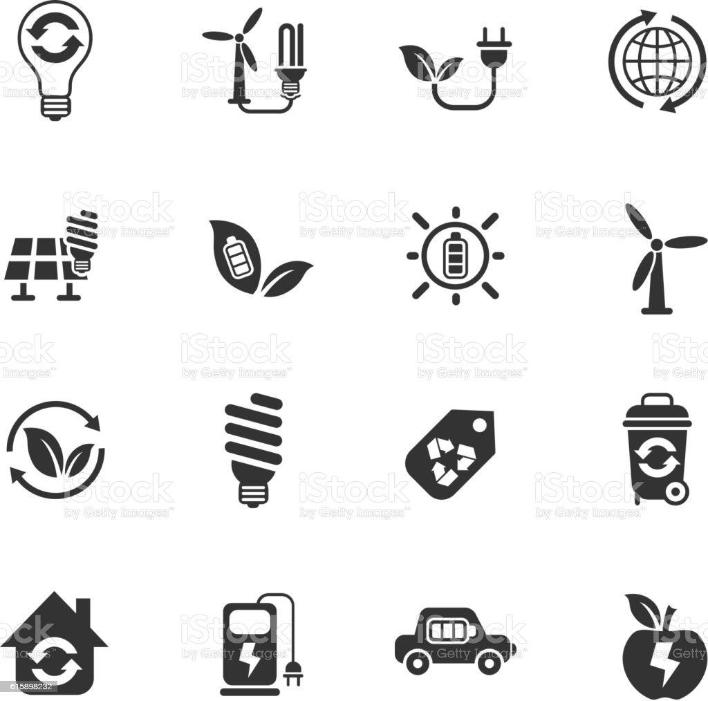 alternative energy icon set vector art illustration
