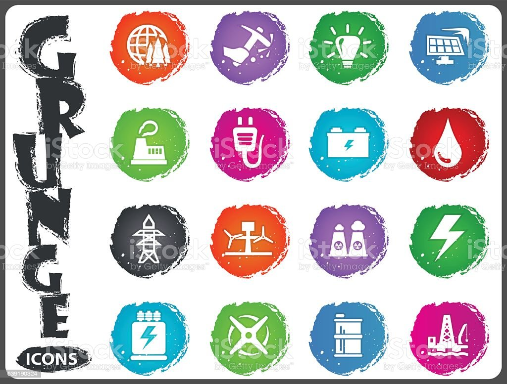 Alternative energy icons set in grunge style vector art illustration