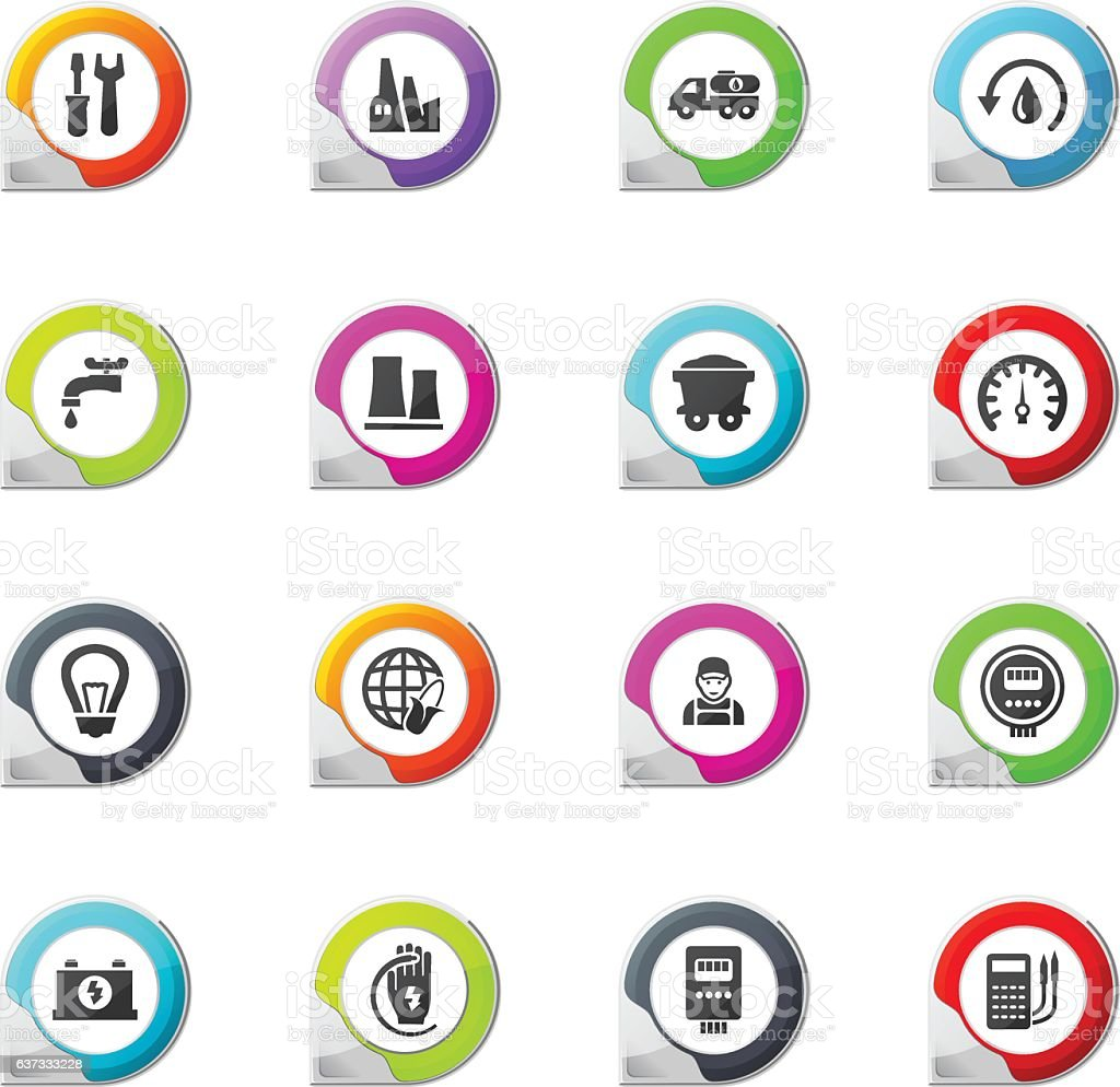 Alternative energy icons set vector art illustration