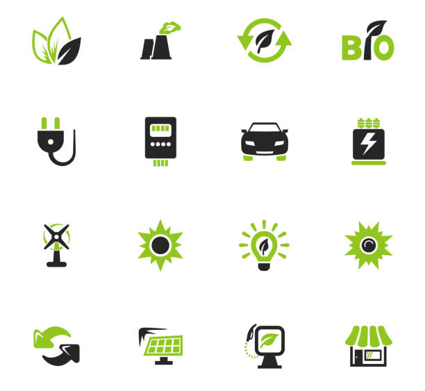 Alternative energy icons set Alternative energy icons set for web sites and user interface sustainable energy stock illustrations