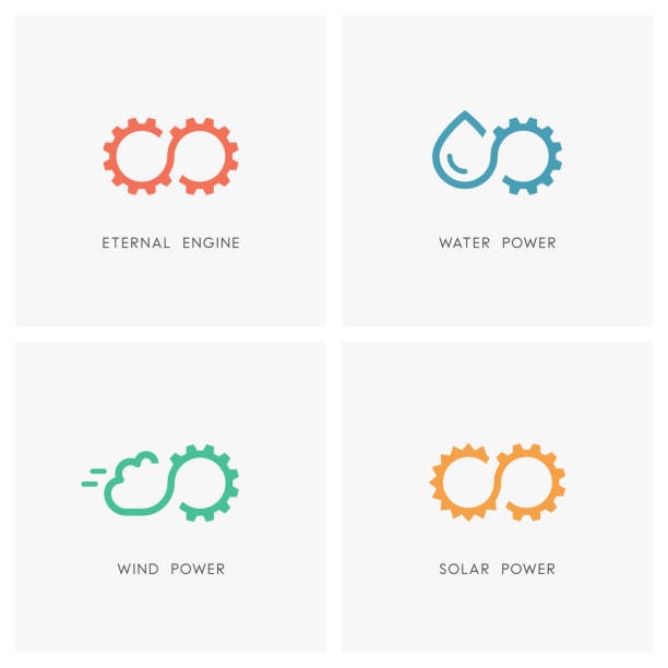 Alternative energy source set Alternative energy source set. Gear wheel or pinion, water, cloud, the sun and infinity symbol - eternal engine and perpetuum mobile, solar, wind and hydro power, industry and ecology icons. eternity stock illustrations