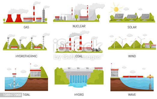 Types of alternative energy sources. Modern electricity production stations. Hydroelectric, wind, nuclear, solar and thermal power plants. Colorful flat vector design isolated on white background.