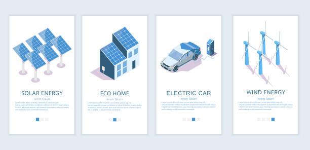 ilustrações de stock, clip art, desenhos animados e ícones de alternative energy vector website and mobile app template set - solar panel