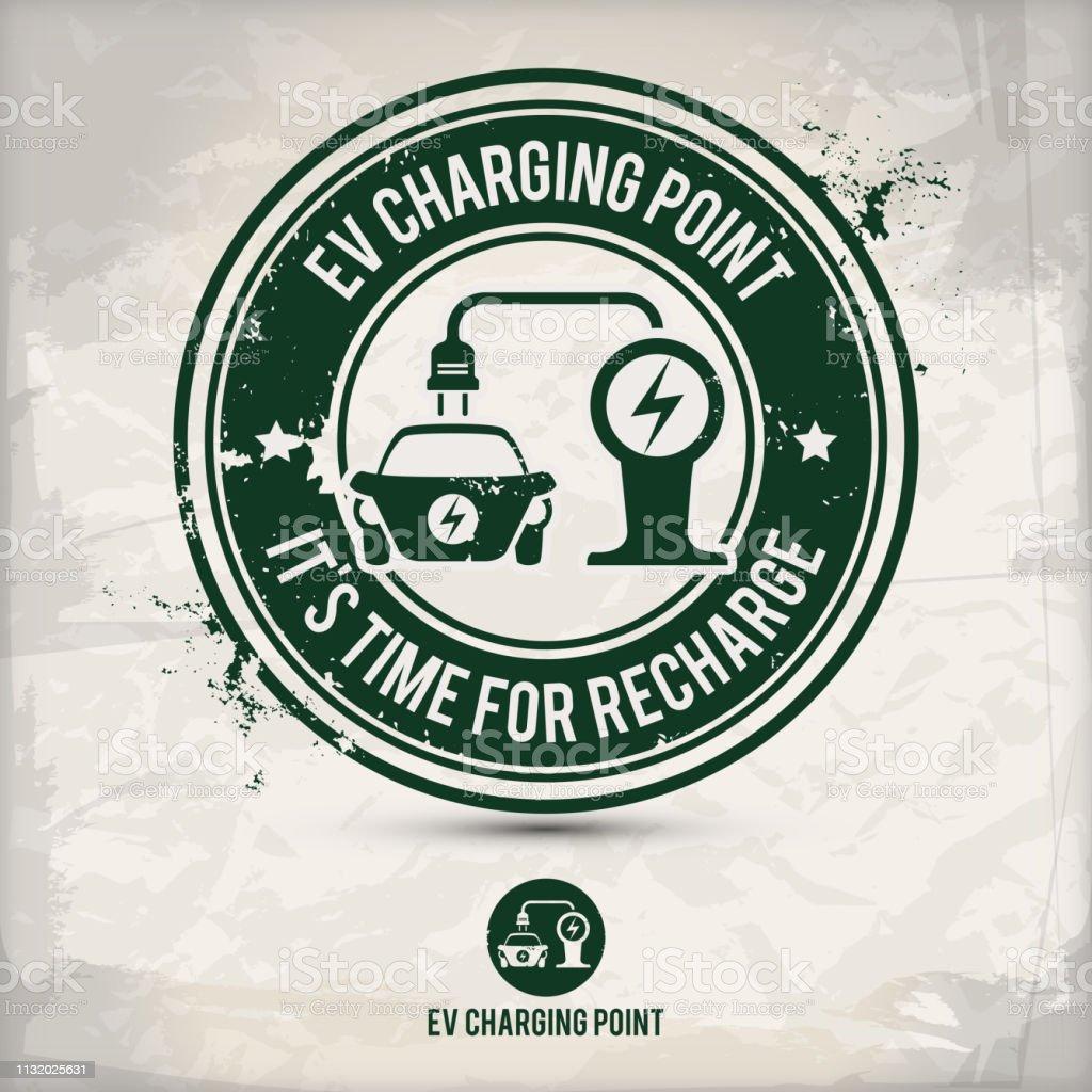alternative ev charging point stamp vector art illustration