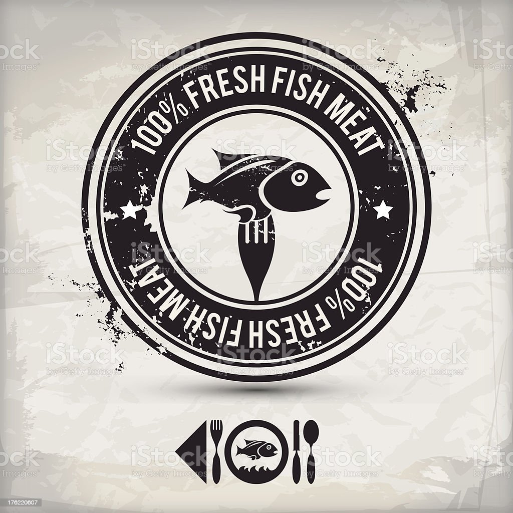 alternative fish label vector art illustration