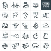 A set of alternative fuel icons that include editable strokes or outlines using the EPS vector file. The icons include solar energy, wind energy, geothermal energy, biothermal energy and hydro energy. The icons show a sun and home, windmills, biofuel gas pump, solar panel, electricity, corn, wheat, dam with water, power-line, garbage, geothermal plant, wind, earths core and a pile of wood to name few.