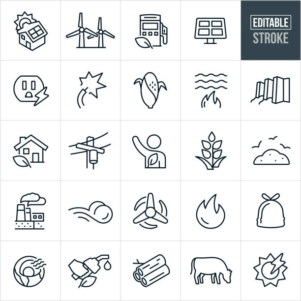 alternative fuel thin line icons - editable stroke - sustainability icons stock illustrations