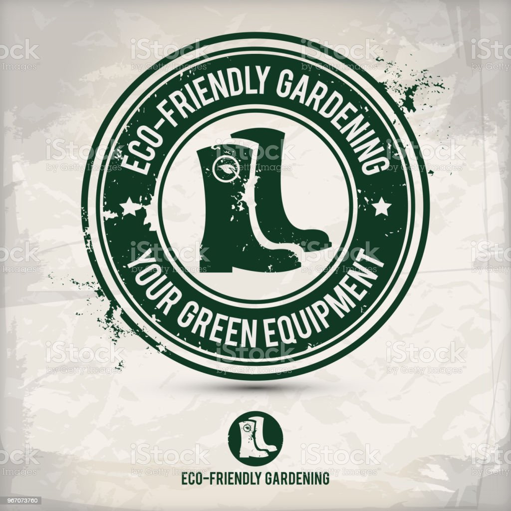 alternative green boot stamp vector art illustration