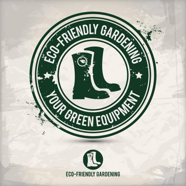 alternative green boot stamp - square foot garden stock illustrations, clip art, cartoons, & icons