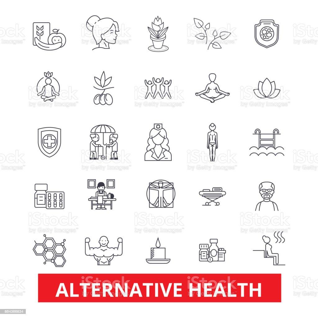 代替医療、ヒーリング、医学、鍼治療、療法、ハーブ ホメオパシー ライン アイコン。編集可能なストローク。フラットなデザイン ベクトル図記号の概念。白い背景に分離線形の兆候 ベクターアートイラスト