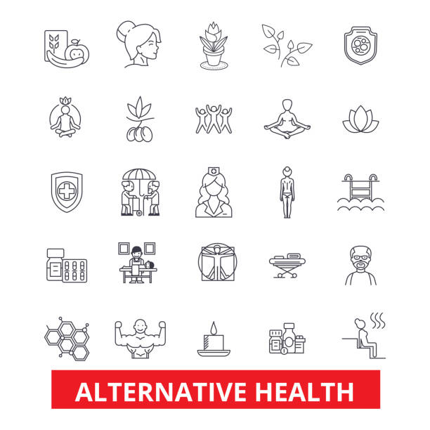 Alternative health, healing, medicine, acupuncture, therapy, herbal homeopathy line icons. Editable strokes. Flat design vector illustration symbol concept. Linear signs isolated on white background vector art illustration