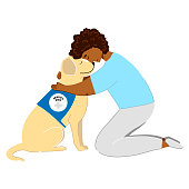 Adorable poster with a man and a service dog. Labrador and patient hand drawn illustration. Canis therapy printable poster. Fluffy dog and the kneeling man grawing.