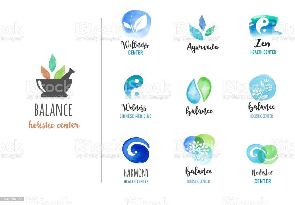 Alternative medicine and wellness, yoga concept - vector watercolor icons vector art illustration