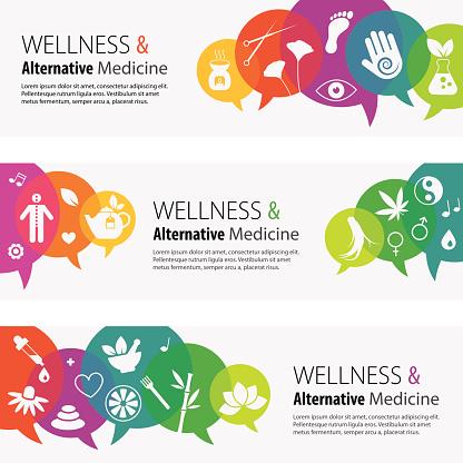 Alternative Medicine Banners And Icon Set