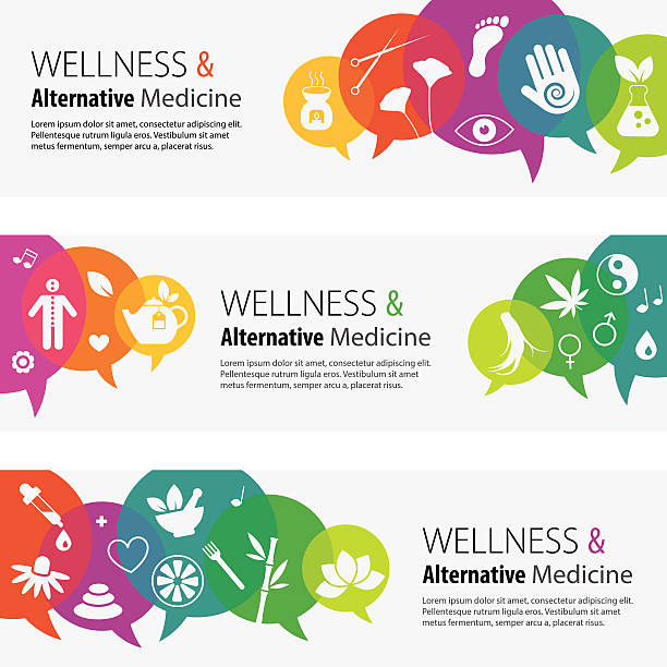 alternative medizin banner und icon-set - alternative medizin stock-grafiken, -clipart, -cartoons und -symbole
