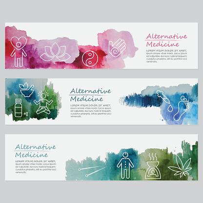 Alternative Medicine Banners Including Line Icons Set