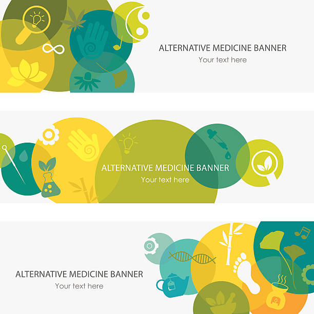 alternative medizin banner - alternative medizin stock-grafiken, -clipart, -cartoons und -symbole