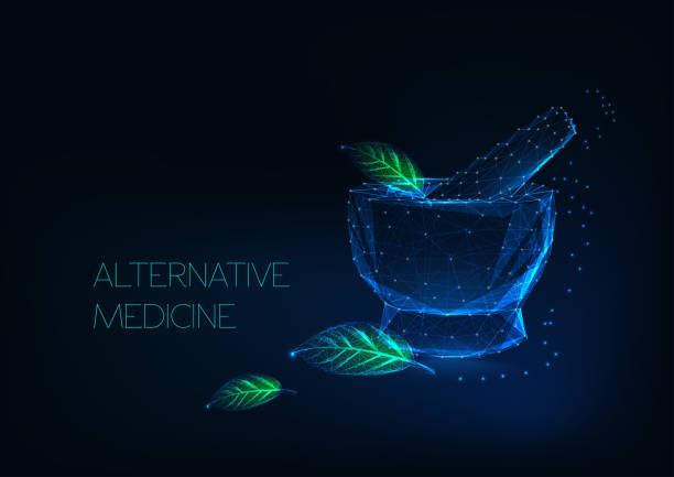 alternative medizin konzept mit leuchtenden mörtel und grünen blättern aus sternen, linien, punkten, dreiecken. - natürlicher zustand stock-grafiken, -clipart, -cartoons und -symbole