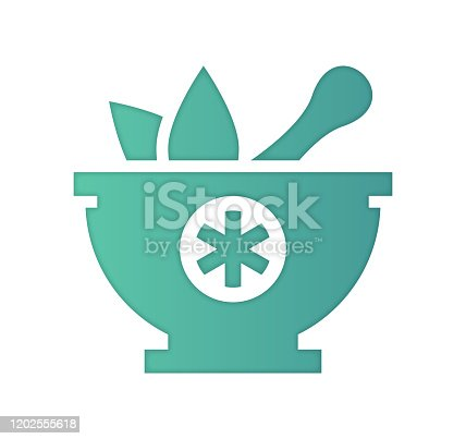 istock Alternative Medicine Gradient Color & Papercut Style Icon Design 1202555618