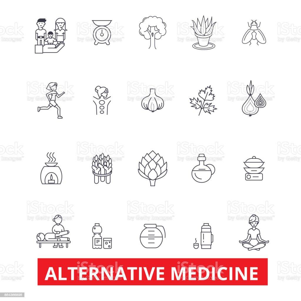 代替医療、ヒーリング、療法、鍼治療、エネルギー、ホメオパシー、ヨガ行アイコン。編集可能なストローク。フラットなデザイン ベクトル図記号の概念。白い背景に分離線形の兆候 ベクターアートイラスト