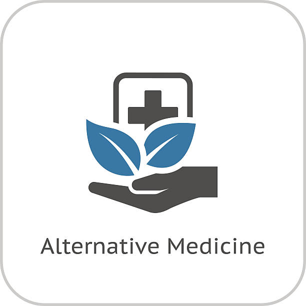 alternative medizin-symbol. flat-design. - alternative medizin stock-grafiken, -clipart, -cartoons und -symbole