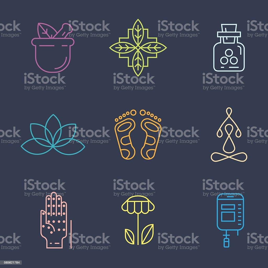 Alternative Medicine icons. vector art illustration