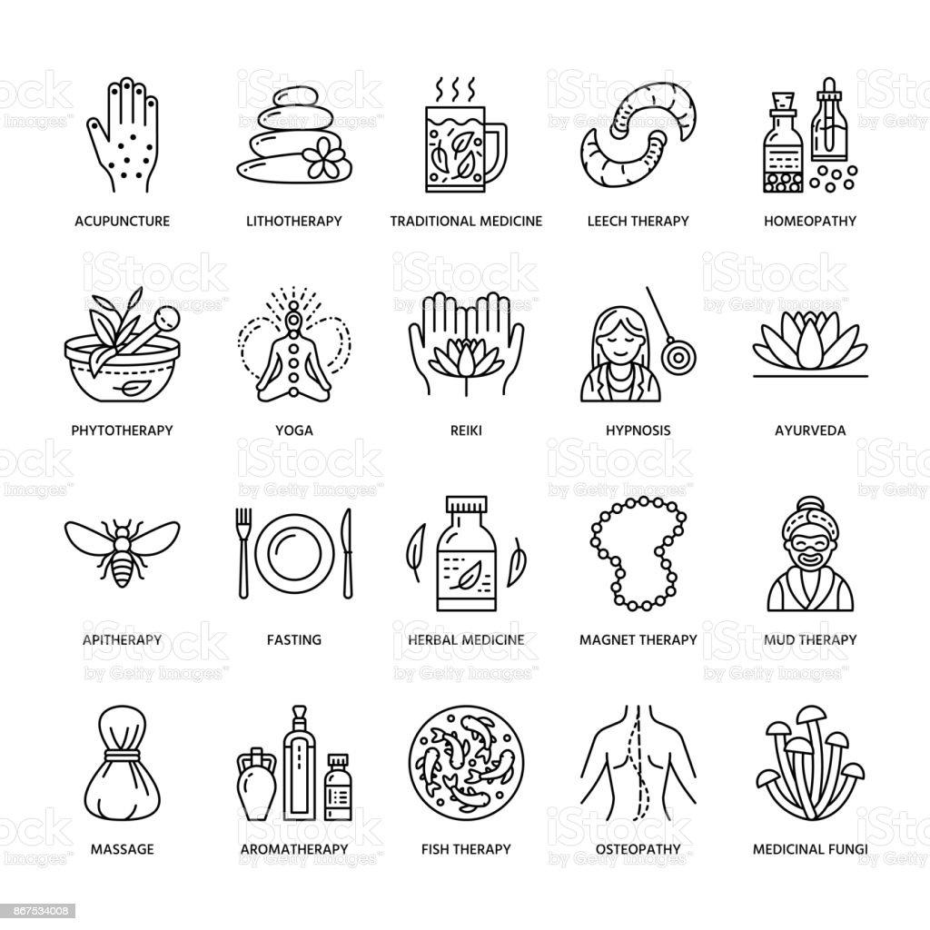 Alternative Medizin Linie Symbole Naturheilkunde Traditionelle ...