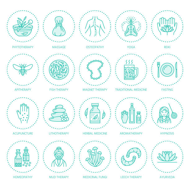 Alternative medicine line icons. Naturopathy, traditional treatment, homeopathy, osteopathy, herbal fish and leech therapy. Thin linear signs for health care center. Blue color vector art illustration