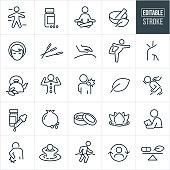 Alternative Medicine Thin Line Icons - Editable Stroke