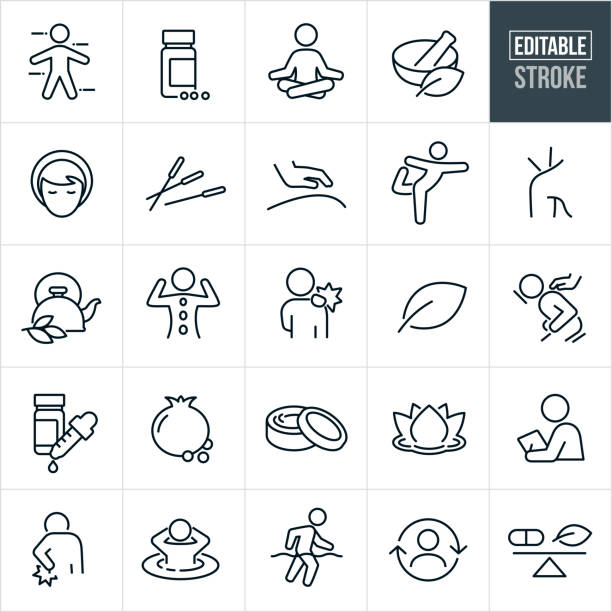 Alternative Medicine Thin Line Icons - Editable Stroke A set of alternative medicine icons that include editable strokes or outlines using the EPS vector file. The icons include supplements, herbs, alternative medicines, meditation, mortar and pestle, acupuncture, massage, masseuse, yoga, tea, hot stone therapy, aches, pains, hurt back, organic, pomegranate, body creams, lotus flower, hot tub, water therapy and other related icons. wellbeing stock illustrations