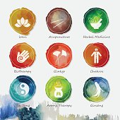 Vector watercolor icons set depicting alternative medicine. Nicely layered.