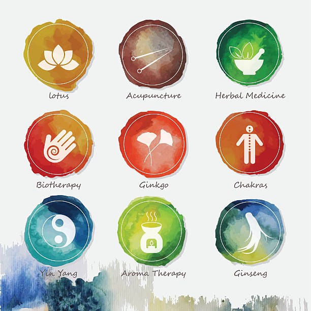 Alternative Medicine Watercolor Icons Set vector art illustration