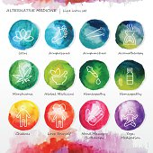 Alternative medicine watercolor line icons set. List of icons: homeopathy, hand massage/biotherapy, yoga/meditation, body and chakras, marihuana, herbal medicine, aromatherapy, lotus, foot massage, acupressure, acupuncture.
