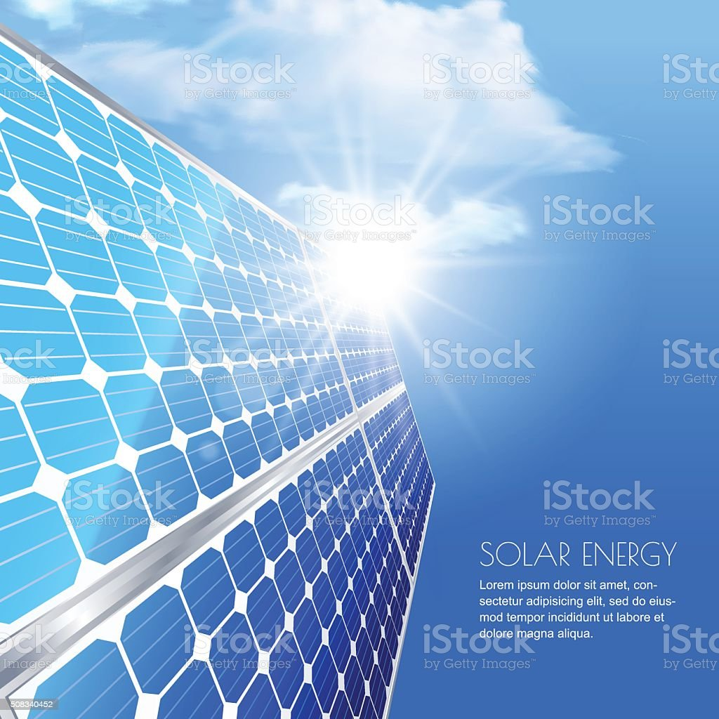 Alternative renewable solar energy and environmental concept. vector art illustration