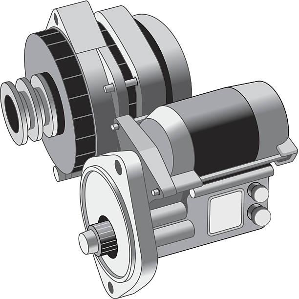 Alternator Starter vector art illustration