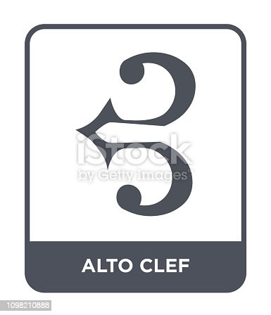 alto clef icon vector on white background, alto clef trendy filled icons from Music and media collection