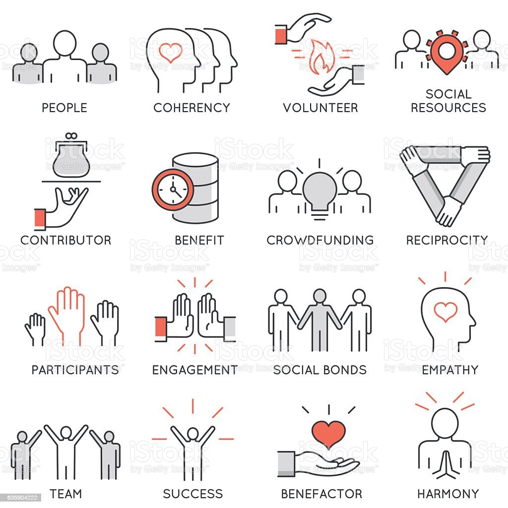 Altruism, benevolence, human responsible and beneficence icons vector art illustration