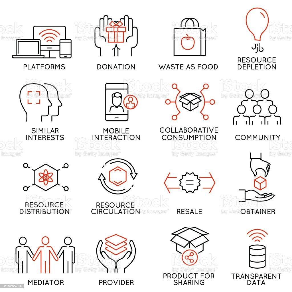 Altruism, cooperation, collaborative consumption and volunteering - part 1 vector art illustration