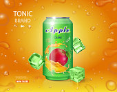 Alumimium tin of apple juice. Fruit drink advertising vector design.