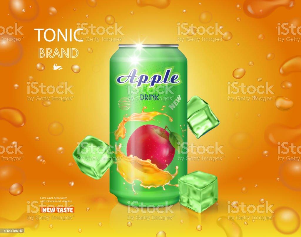 Alumimium lata de jugo de manzana. Bebida de frutas vector diseño publicitario - ilustración de arte vectorial