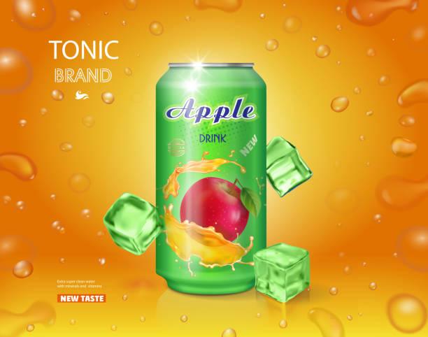 ilustraciones, imágenes clip art, dibujos animados e iconos de stock de alumimium lata de jugo de manzana. bebida de frutas vector diseño publicitario - bebida gaseosa