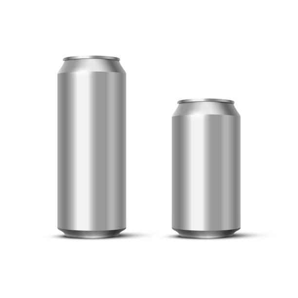 illustrazioni stock, clip art, cartoni animati e icone di tendenza di aluminium beer or soda pack mock up. vector realistic blank metallic cans isolated on white background. - latte