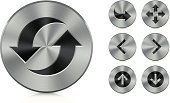 Collection of vector aluminium buttons. Very detailed illustration.