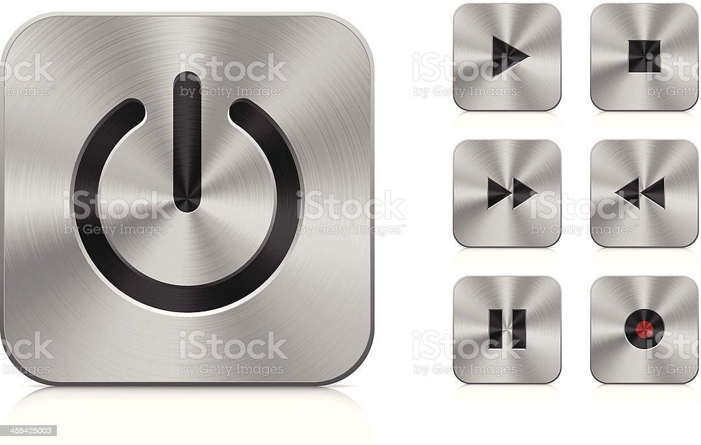 Aluminium buttons (square) royalty-free stock vector art
